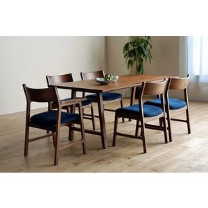 encore Dテーブル210RN+肘付椅子6脚 アンコールDT210 リアルナットナチュラル色  W2100×D900×H720 ウォールナット材 張生地ラムース ekaguya