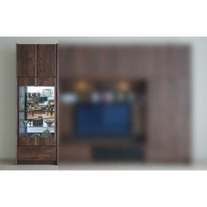サイズ受注生産 ウォールナット et Coeur 幅722×高1900-2140 エクールRN色 キュリオ72+上置M 家具産地大川製|ekaguya