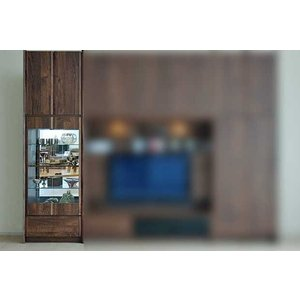 サイズ受注生産 ウォールナット et Coeur 幅722×高2150-2480 エクールRN色 キュリオ72+上置H 家具産地大川製|ekaguya