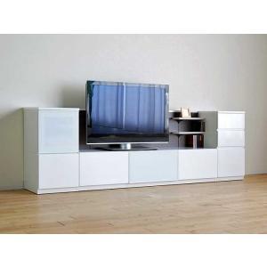 Luzz RW色 総幅2660×高850×奥行445 ルッツTV180+キャビ+チェスト ロイヤルホワイト色 UV塗装|ekaguya