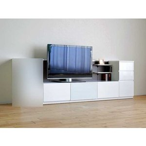 Luzz RW色 総幅2230×高850×奥行445 ルッツTV180+チェスト ロイヤルホワイト色 UV塗装|ekaguya