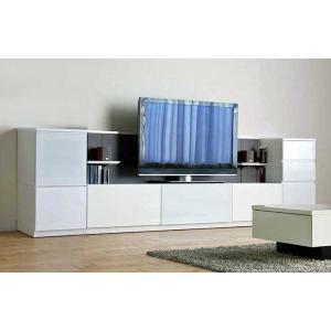 Luzz RW色 総幅2960×高850×奥行445 ルッツTV210+キャビ+チェスト ロイヤルホワイト色 UV塗装|ekaguya
