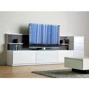 Luzz RW色 総幅2530×高850×奥行445 ルッツTV210+チェスト ロイヤルホワイト色 UV塗装|ekaguya