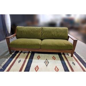 厳選国産 ウォールナット三人用ソファー MALu1-3 W200×D83×H76 orレッドオークorタモの木種・張生地・オイルorウレタン塗装が選る|ekaguya