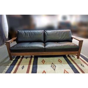 厳選国産 ウォールナット三人用ソファー MALu3-3 W200×D83×H76 orレッドオークorタモの木種・革色・オイルorウレタン塗装が選る|ekaguya