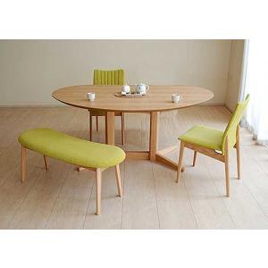 レッドオークMirage ミラージュ140テーブルOC+椅子2+ベンチ 木部色・椅子生地選択可 家具産地大川製|ekaguya