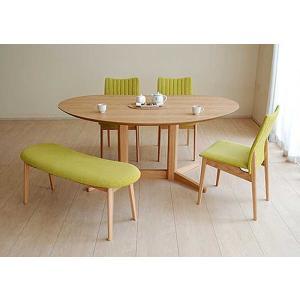 レッドオークMirage ミラージュ140テーブルOC+椅子3+ベンチ 木部色・椅子生地選択可 家具産地大川製|ekaguya