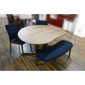 ウォールナットMirage ミラージュ140テーブルRN/CH+椅子2+ベンチ 木部色・生地選択可 家具産地大川製|ekaguya