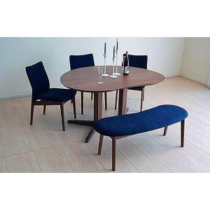ウォールナットMirage ミラージュ140テーブルRN/CH+椅子3+ベンチ 木部色・生地選択可 家具産地大川製|ekaguya
