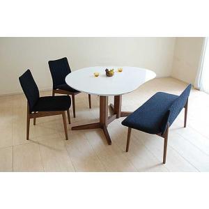 受注生産UV塗装Mirage ミラージュ140テーブルRW/CH+椅子2+セティ 脚色・生地選択可 家具産地大川製|ekaguya