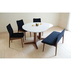 受注生産UV塗装Mirage ミラージュ140テーブルRW/CH+椅子3+セティ 脚色・生地選択可 家具産地大川製|ekaguya