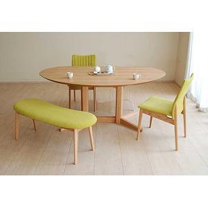 レッドオークMirage ミラージュ160テーブルOC+椅子2+ベンチ 木部色・椅子生地選択可 家具産地大川製|ekaguya