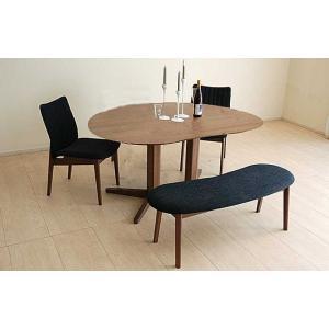 ウォールナットMirage ミラージュ160テーブルRN/CH+椅子2+ベンチ 木部色・生地選択可 家具産地大川製|ekaguya