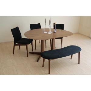 ウォールナットMirage ミラージュ160テーブルRN/CH+椅子3+ベンチ 木部色・生地選択可 家具産地大川製|ekaguya