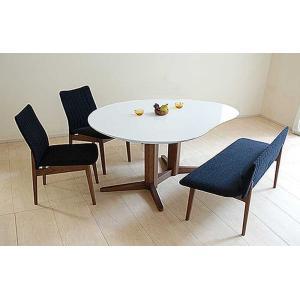 受注生産UV塗装Mirage ミラージュ160テーブルRW/CH+椅子2+セティ 脚色・生地選択可 家具産地大川製|ekaguya