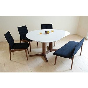 受注生産UV塗装Mirage ミラージュ160テーブルRW/CH+椅子3+セティ 脚色・生地選択可 家具産地大川製|ekaguya