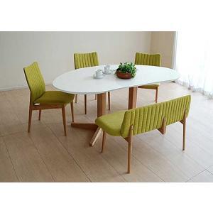受注生産UV塗装Mirage ミラージュ160テーブルRW/OC+椅子3+セティ 脚色・生地選択可 家具産地大川製|ekaguya
