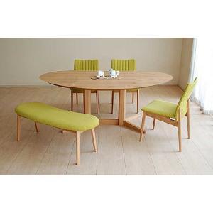 レッドオークMirage ミラージュ180テーブルOC+椅子3+ベンチ 木部色・椅子生地選択可 家具産地大川製|ekaguya