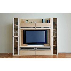 メープルNEW Berg ニューベルク218MN TVset メープルナチュラル色 ガラス34&150TV&ガラス戸34 W2180×D482×H1800 大川製|ekaguya