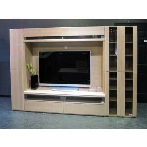 メープルNEW Berg ニューベルク280MN TVset メープルナチュラル色 ガラス戸66&180TV&板戸34 W2794×D482×H1800 大川製|ekaguya