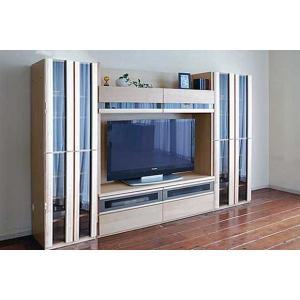 メープルNEW Berg ニューベルク312MN TVset メープルナチュラル色 ガラス戸66&180TV&ガラス戸66 W3108×D482×H1800 大川製|ekaguya
