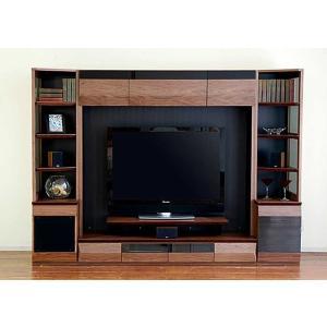 サラウンド対応 ウォールナットVAICE ヴァイス2400TVset ガラス40&160TV&ネット40 W2406×D556×H1750 大川製|ekaguya