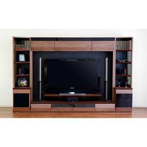 サラウンド対応 ウォールナットVAICE ヴァイス2800TVset ガラス40&200TV&ネット40 W2806×D556×H1750 大川製|ekaguya