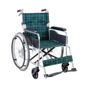 (代引き不可) エコノミー 自走用車いす EW-50GN 緑チェック マキテック (自走式車いす 車椅子 折り畳み) 介護用品|ekaigonavi