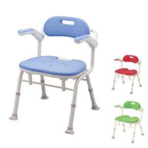 アロン化成 安寿 折りたたみシャワーベンチ IS  角型座面 536-320 536-322 536-326 (介護用 風呂椅子 介護 浴室 椅子 チェア 折りたたみ 肘掛け椅子) 介護用品