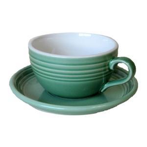 スープカップカフェラテカップ&ソーサー グリーン (415cc)