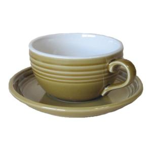スープカップ カフェラテカップ&ソーサー アンバー 国産/食洗機ok/レンジok/