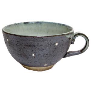 スープカップ 黒一珍水玉