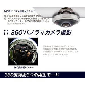 ドライブレコーダー 前後 360度 撮影 半球...の詳細画像2