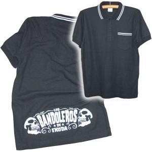 スカル 半袖 ポロシャツ/BANDOLEROS 半袖ポロシャツ/ブラック×ホワイト/LBDE|ekodanosanzoku