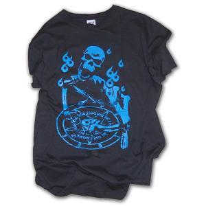 スカル柄 Tシャツ/LBDE 666b 半袖Tシャツ/ブラック×ブルー/LBDE|ekodanosanzoku