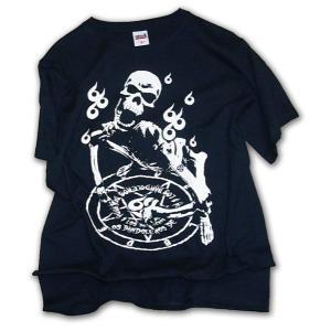 スカル柄 Tシャツ/LBDE 666b 半袖Tシャツ/ブラック×オフホワイト/LBDE/T shirts|ekodanosanzoku
