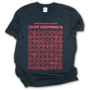 ソロモン王の鍵 72悪魔の印章 シジル 半袖Tシャツ/ブラック×レッド/封印バッジ付/LBDE LIMITADA|ekodanosanzoku