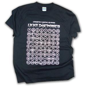 ソロモン王の鍵 72悪魔の印章 シジル 半袖Tシャツ/ブラック×オフホワイト/封印バッジ付/LBDE LIMITADA|ekodanosanzoku