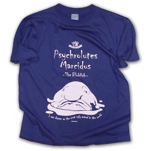 ニュウドウカジカ 半袖Tシャツ 世界で最も醜い動物 ブロブフィッシュ/ディープブルー×ライトピンク/LBDE LIMITADA|ekodanosanzoku