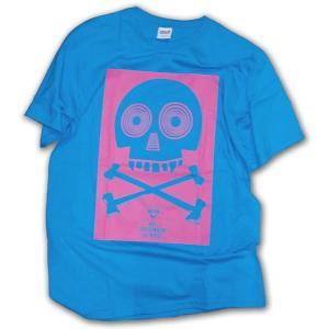 スカル柄 Tシャツ/PCB2 半袖Tシャツ/ターコイズブルー×ピンク/LBDE/T shirts|ekodanosanzoku