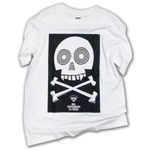 スカル柄 Tシャツ/PCB2 半袖Tシャツ/ホワイト×ブラック/LBDE/T shirts|ekodanosanzoku