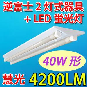 LEDベースライト 逆富士LED蛍光灯器具40W型2灯式 蛍光灯2本付 昼白色 gfuji-120pz2|ekou