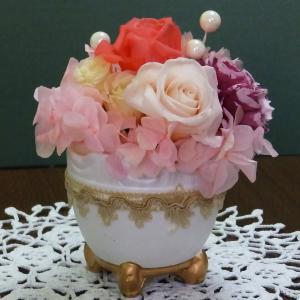 プリザ(トリムポット ピンク)とてもキュートなプリザーブドフラワー 女性に大人気なお花|ekoukai