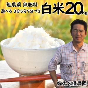 無肥料栽培米 20Kg | 選べる 白米 分づき 福岡県産 ひのひかり 筑後久保農園|ekubo