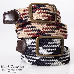 ベルト メンズ メッシュベルト 牛革 ゴム素材 送料無料 Hawk Company 1172 mlb|el-diablo