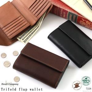 財布 折り財布 メンズ 本革 大容量 イタリアンレザー フラップ ショートウォレット 三つ折り財布 HAWKCOMPANY 7226|el-diablo