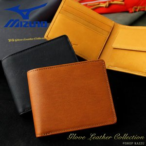 二つ折り財布 メンズ 財布 本革 MIZUNO グラブレザーコレクション|el-diablo