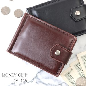 マネークリップ ショートウォレット 財布 折財布 メンズ 二つ折り財布 薄い 薄マチ キャッシュレス コンパクト SY-738 mlb|el-diablo