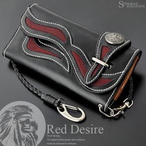 財布 長財布 メンズ 本革 エイ革 レプリカコンチョ ライダースウォレット Red Desire RD-10|el-diablo