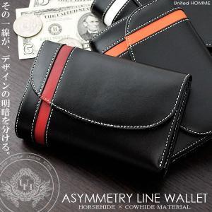 三つ折り財布 メンズ ミドルウォレット 革 レザー アシンメトリーライン 3色|el-diablo
